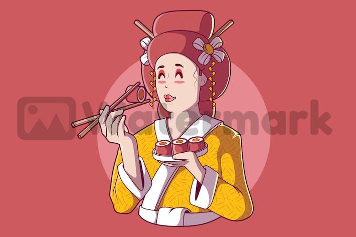 Geisha isst Sushi