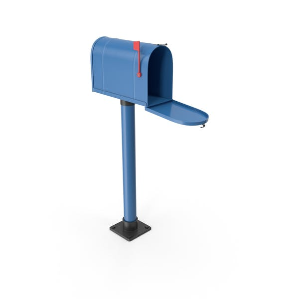 Mailbox On Post Opened Blue