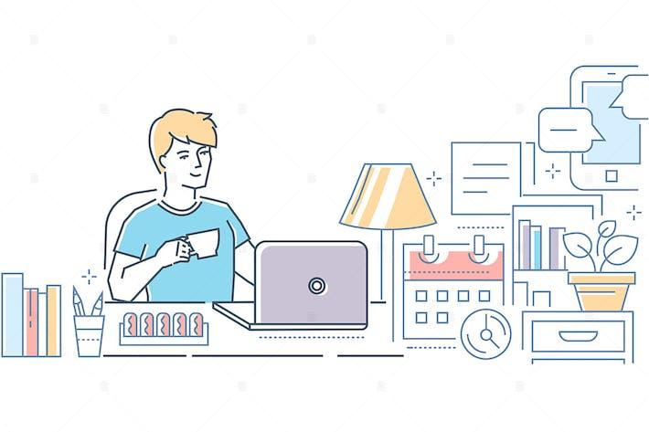 Thumbnail for Freelance - modern line design style illustration