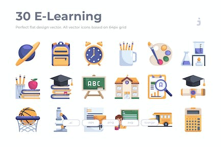 30 E-learning and Education Icon - Flat