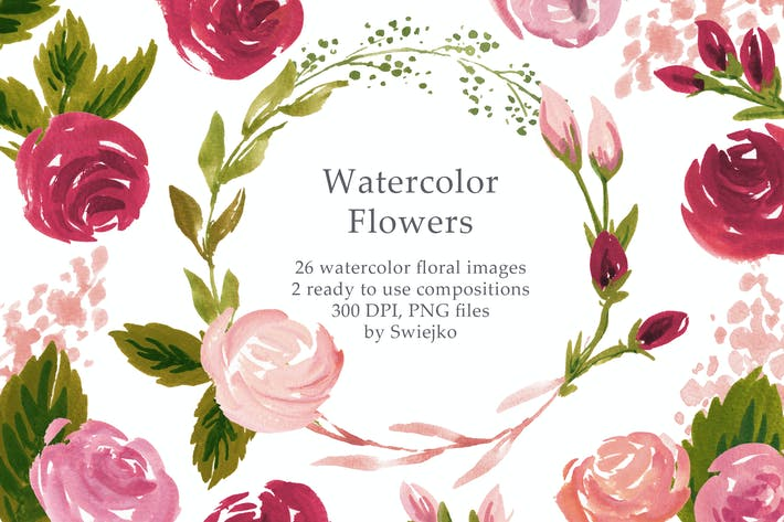 Thumbnail for Watercolor Retro Flowers I