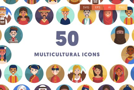 50 Multicultural National People Icons