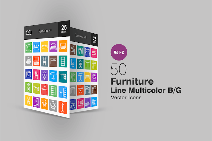 Thumbnail for 50 Furniture Line Multicolor Icons