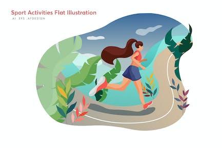 Sport Aktivitäten Flache Illustration