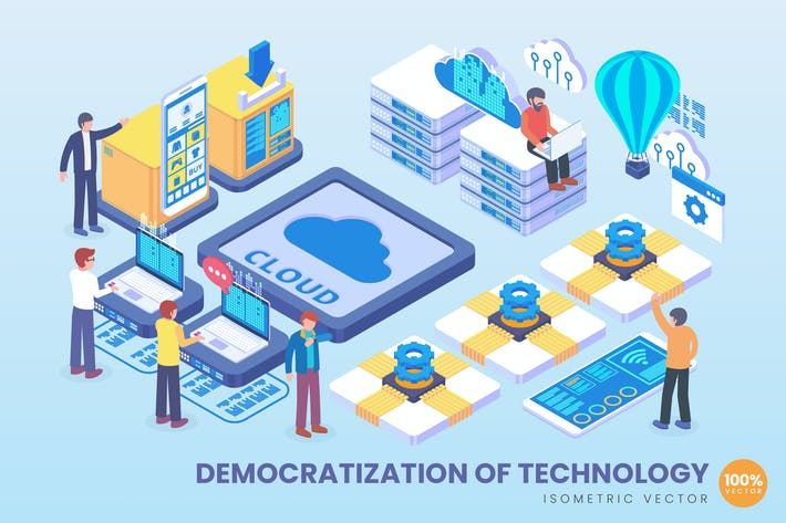 Thumbnail for Isometric Democratization Of Technology Vector