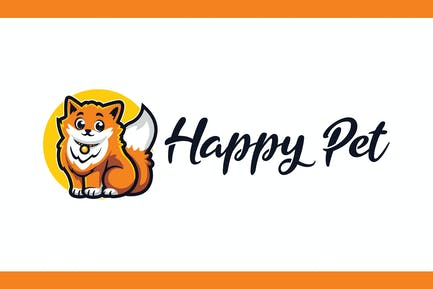 Cartoon Fluffy Cat Mascot Logo