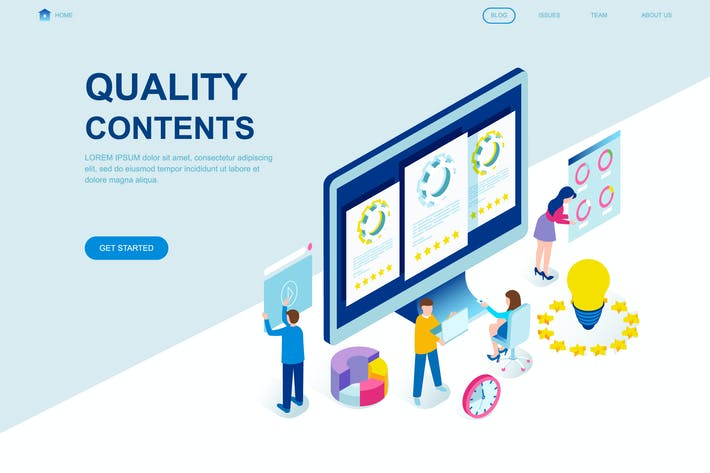 Cover Image For Quality Content Isometric Landing Page Template