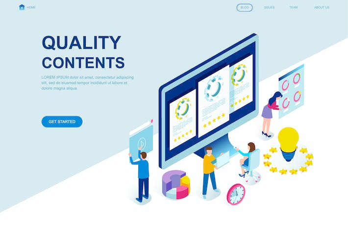 Thumbnail for Quality Content Isometric Landing Page Template