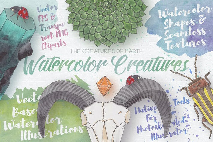 Thumbnail for Watercolor Creatures vol. 1