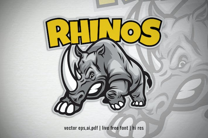 Thumbnail for Angry Cartoon Rhino Logo