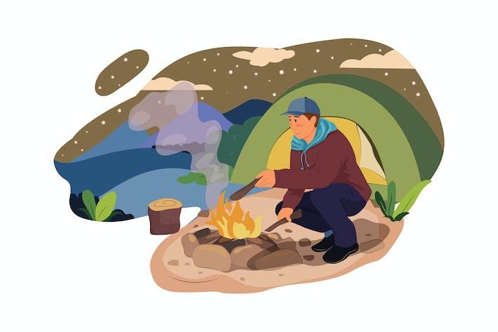 Ein Mann durch Lagerfeuer