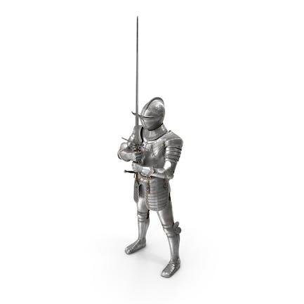 Armadura de placas de caballero medieval sosteniendo Zweihander