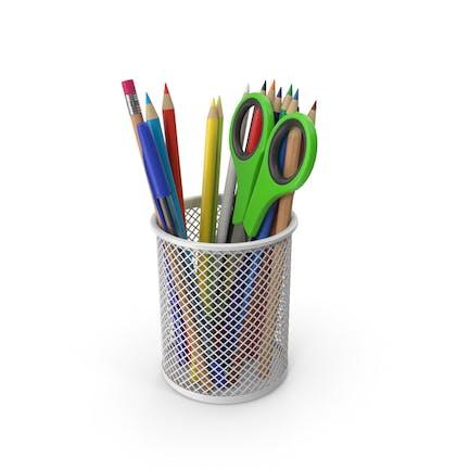 Taza de lápices con lápices