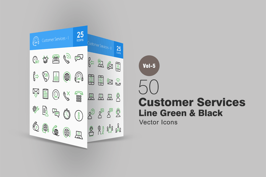 50 Customer Services Line Green & Black Icons