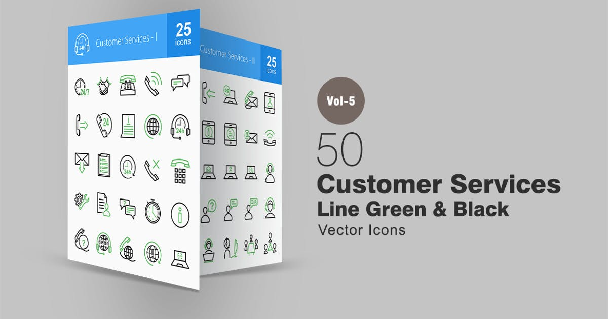 Download 50 Customer Services Line Green & Black Icons by IconBunny