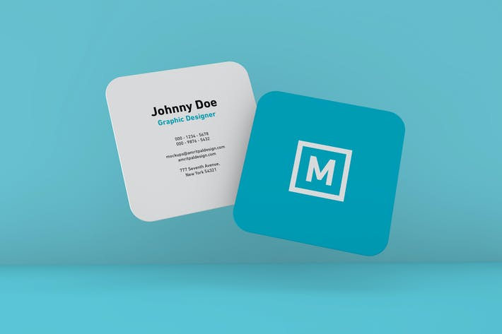Cover Image For Rounded Square Business Card Floating Mockup