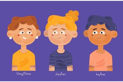 Non Binary People Illustration