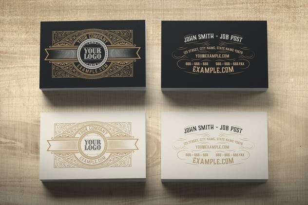 vintage business card in two colors