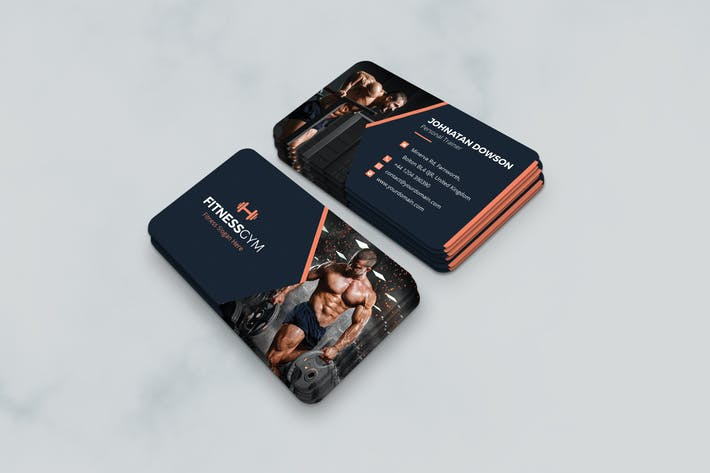 Download 7398 fitness business card templates envato elements thumbnail for business card gym fitness and health fbccfo Images