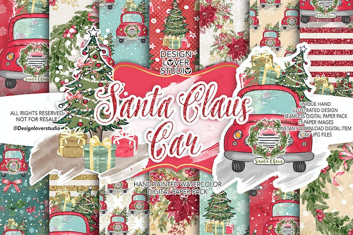 Thumbnail for Santa Claus Car digital paper pack