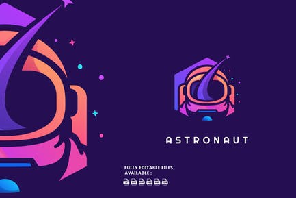 Astronaut Simple Color Logo