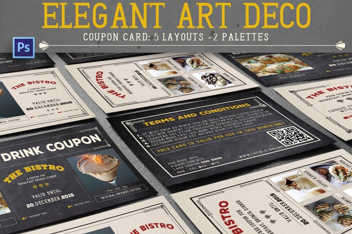Thumbnail for Elegant Art Deco Coupon Card