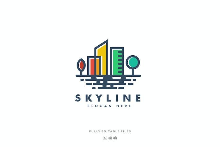Thumbnail for Simple Skyline Color Line Art Logo
