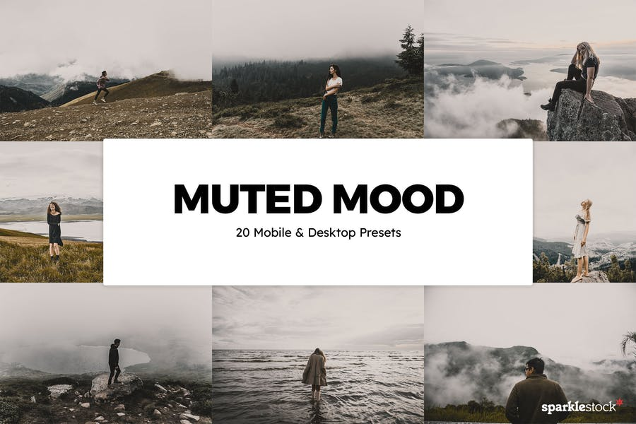20 Muted Mood Lightroom Presets and LUTs