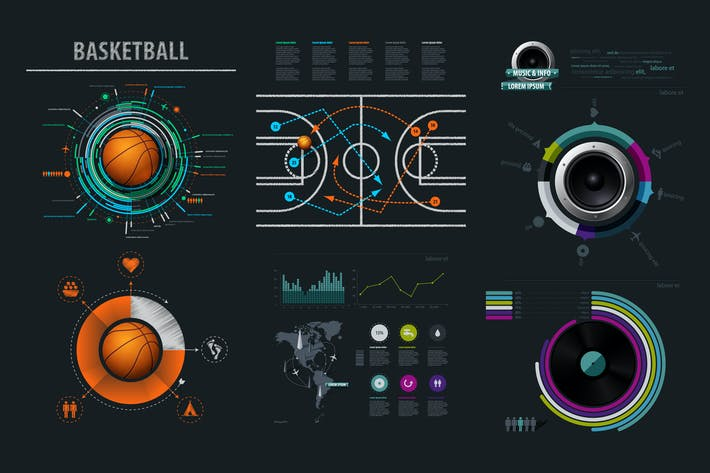 Thumbnail for Vector infographics element with basketball Ball