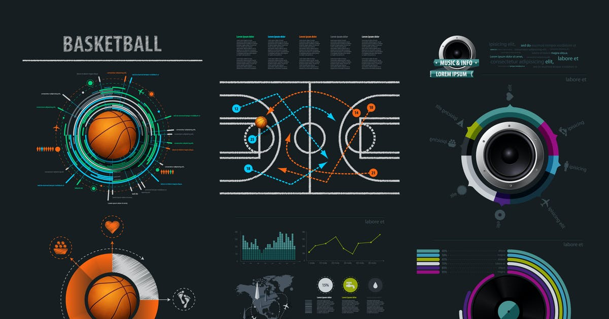 Download Vector infographics element with basketball Ball by fet