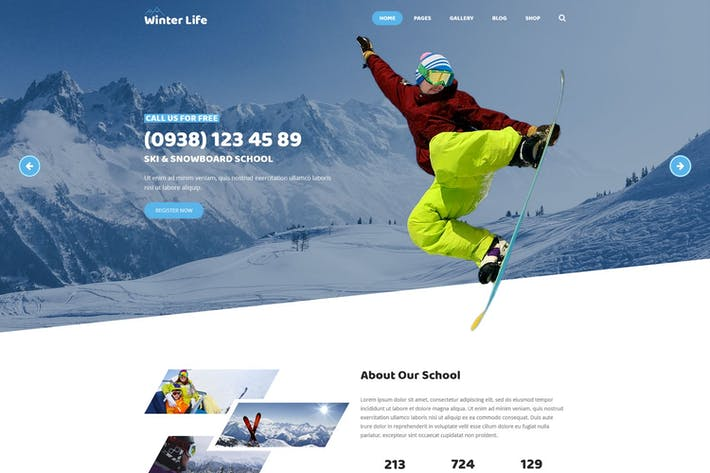 Cover Image For Winter Life - Resort & Listing PSD Template