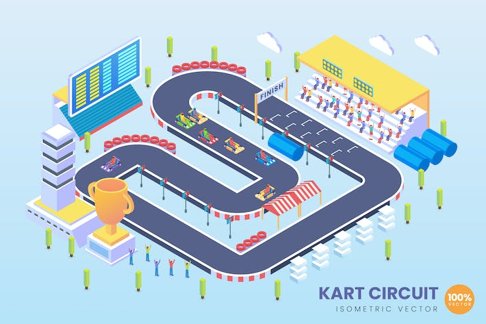 Thumbnail for Isometric Kart Circuit Vector Concept