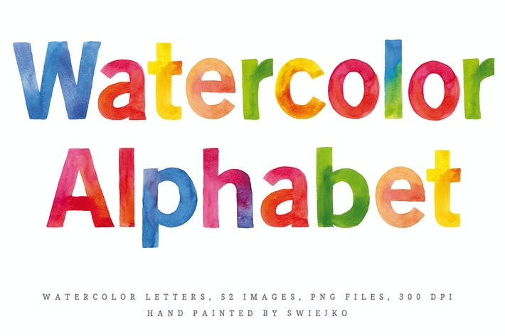 Thumbnail for Watercolor Alphabet, happy rainbow colors