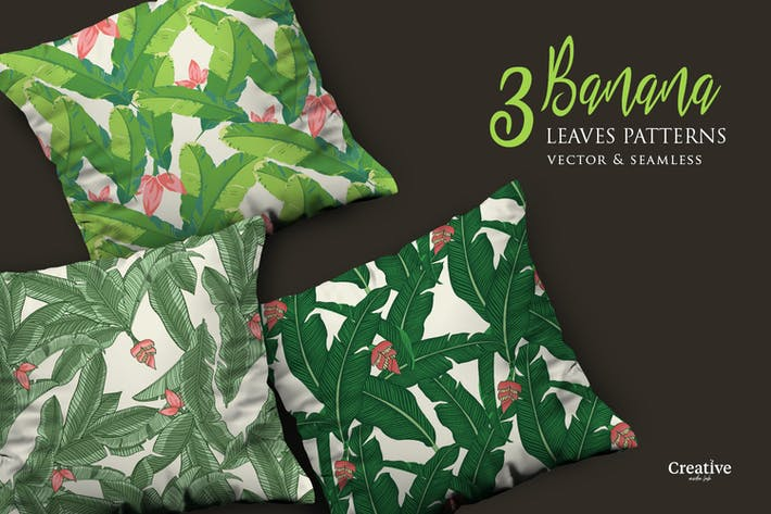 Thumbnail for Vector Tropical Banana Leaves Patterns