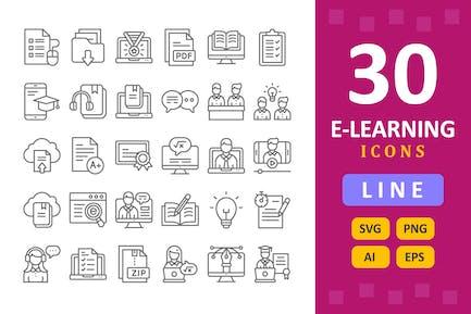 30 Íconos de e-Learning - Línea