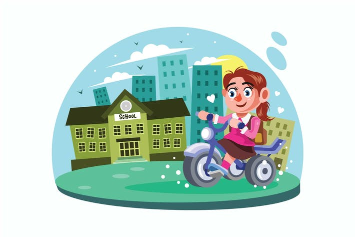 Cover Image For Young Girl go to School Vector Illustration