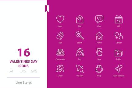 Valentinstag Icon Line Stile
