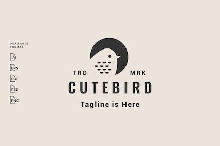 Niedliches Vogel-Hipster-Logo