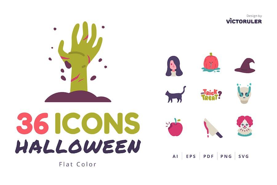 36 Хэллоуин Иконки плоский стиль