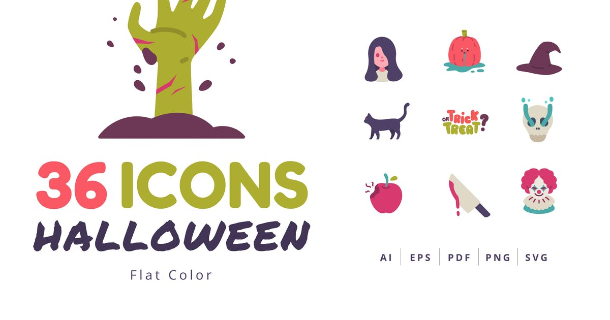 Download 36 Halloween Icons Flat Style by Victoruler