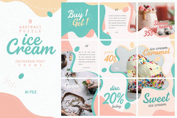 Thumbnail for Abstract Puzzle Theme - Ice Cream Instagram Post