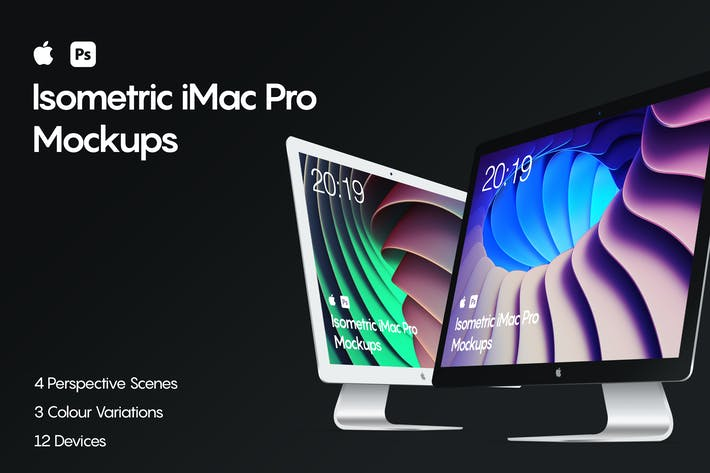 Thumbnail for Isometric iMac Pro Mockup