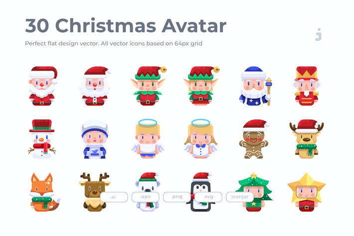 Thumbnail for 30 Christmas Avatar Icons- Flat