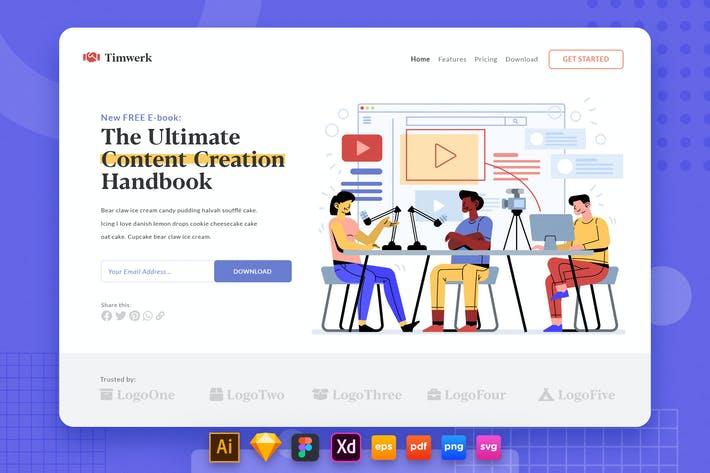Thumbnail for Landing Page V.37 Teamwork - Content Creator