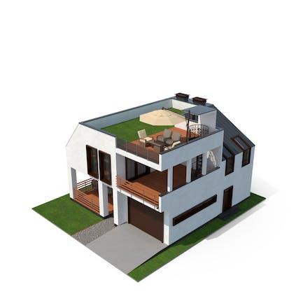 Modernes Haus mit Grasdach
