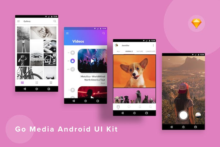 Thumbnail for GoMedia Android UI Kit (Sketch)