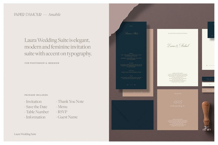 Laura Wedding Suite for Photoshop and Indesign