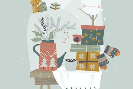 Bodegón con regalos y elementos navideños. Vect