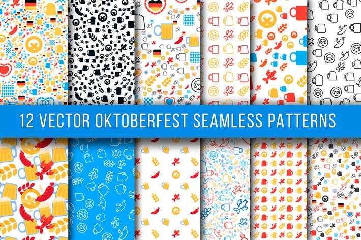Thumbnail for 12 Oktoberfest Seamless Patterns