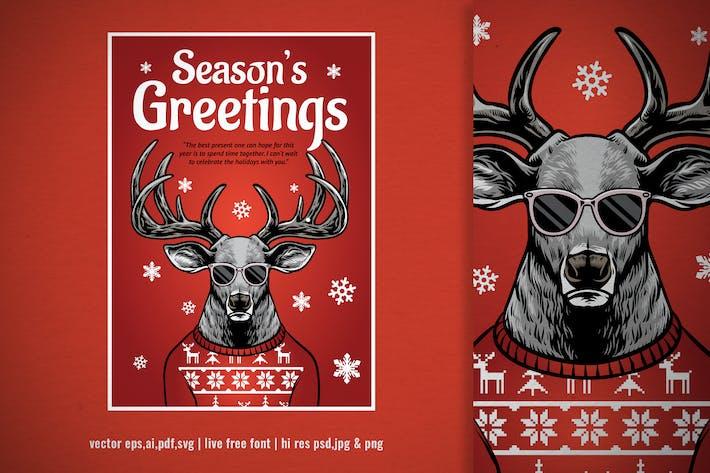 Thumbnail for поздравительная открытка с нарисованным вручную рождественским оленем